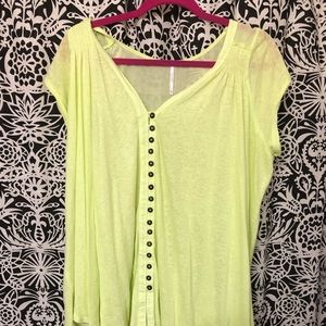 Free People Neon Yellow Tunic